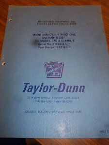 Taylor dunn Ss t 570 ss t 571 transporter Part maintenance operation Manual 1972