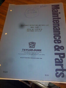Taylor dunn Tractor 3249p parts maintenance operation Manual 1979 3249p ev 1 Scr