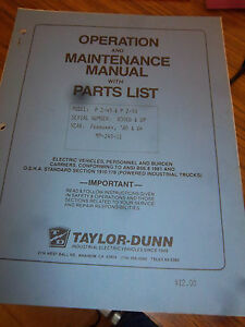 Taylor dunn P2 49 p2 50 tractor Part maintenance operation Manual 1986 ev 1 Scr