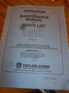 Taylor dunn E450 e451 e452 e457 e458 part maintenance operation Manual model E