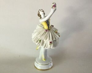 Antique Volkstedt Dresden Lace 9 1 2 Lady Figurine Dancer Holding Flowers Lady