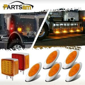 5x Amber 4 Led 6 5 8 Amber Oval Side Marker Lights 2x Stud Mount Stop Tail Lamp