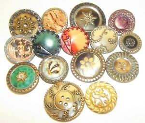 Wonderful Lot Of Victorian Metal Buttons With Celluloid Ivoroid Centers