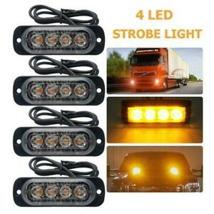 Amber 4 Led Car Truck Emergency Beacon Warning Hazard Flash Strobe Light Bar