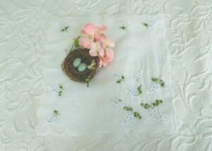 Delicate Vintage Embroidered White Lilacs Romantic Antique Scalloped Hanky