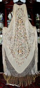 Antique Vintage Embroidered Floral Butterfly Cream Silk Piano Shawl Manton