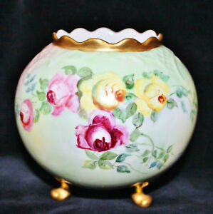Antique Vienna Austria Footed Globular Vase Hand Painted Roses Signed Marked Exc