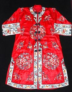 Vintage Fine Chinese Embroidered Red Silk Robe Textile Six Roundels Roses Floral