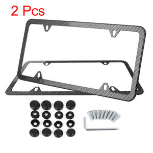 2pcs Carbon Fiber Front Rear License Plate Frame W Screw Caps 4 Hole Slim Rim