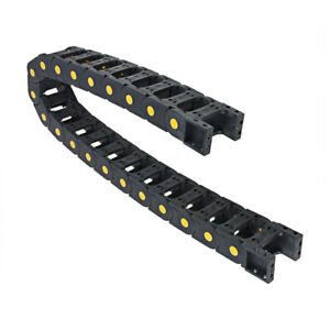 R55 25mm X 50mm Black Plastic Open Type Cable Drag Chain Wire Carrier 1m Length