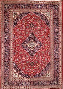 Red 8x12 Persian Area Rugs Traditional Floral Authentic Hand Knotted Wool Carpet
