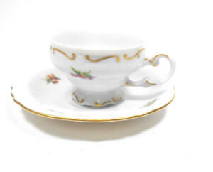 Vintage Weimar Porcelain Tea Cup Teacup And Saucer Gold Accents And Flowers