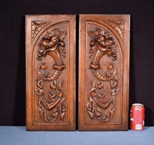 Pair Of Antique French Highly Carved Panels In Walnut Wood Salvage W Flowers