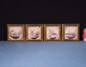 Four Dutch Delft Tiles With Hand Painted Scenes Manganese Colored In Frames