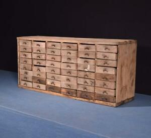 Antique Industrial Parts Cabinet With 48 Metal Drawers In A Oak Case