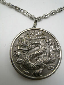 Reed Barton Sterling Silver Repousse Dragon Pendant W Mirror Back On Chain