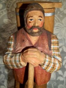 Vintage Carved Wooden Figure Backpacker