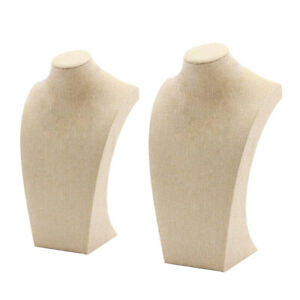2 Pcs Beige Necklace Display Mannequin Necklace Display Bust Holder Stable