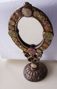 Vintage Hand Crafted Mirror On Heavy Metal Stand With Replica Antique Buttons