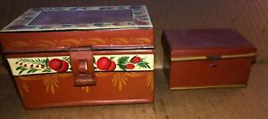2 Antique Hand Painted Toleware Trinket Boxes