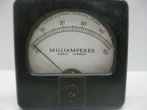 Vintage Marion Electrical Gauge Milliamperes Direct Current 0 50 Panel Meter