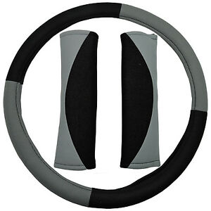 Uaa Poly Gray Black Suv Steering Wheel Cover Belt Pads For American Suvs