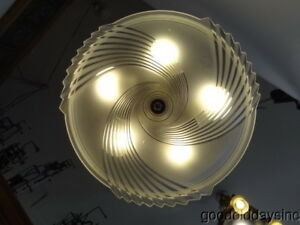 Vintage 1930 S Art Deco Chandelier 5 Light Ceiling Fixture W Frosted Glass Shade