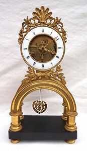 French Empire Skeleton Clock Ormolu Engraved Bronze Paris Movement 1810