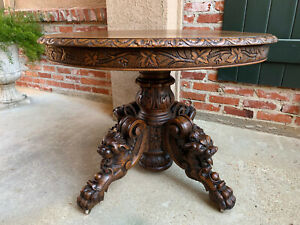 Antique French Carved Oak Lamp Sofa Table Oval Victorian Renaissance Griffin