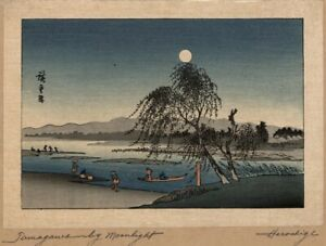 Japanese Hiroshige Woodblock Print Tanagawa By Moonlight