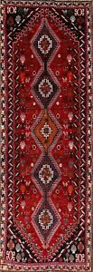 Geometric Tribal 10 Ft Red Runner Hand Knotted Persian Oriental Runner Rug 3x10