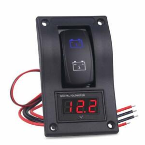 Waterwich Dc12v 24v Led Voltmeter Voltage On off Buttom Ignition Dual Battery Te