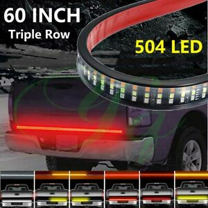 60 Inch Triple Led Tailgate Light Reverse Brake Signal Car Truck Pickup Strip