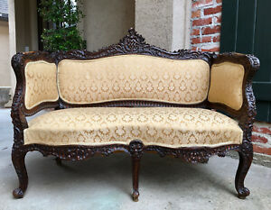 Antique French Cared Wood Frame Settee Sofa Love Seat Louis Xv Gold Chaise