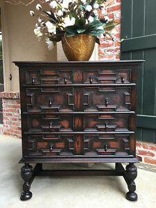 Antique English Dark Carved Oak Chest Of Drawers Jacobean Large Dresser Cabinet