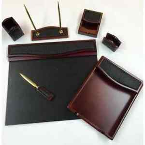7 piece Burgundy Oak And Black Crocodile Eco friendly Leather Desk Set