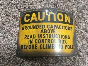 Porcelain Enameled Overhead Power Line Utility Pole Caution Sign