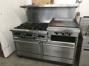 Sunfire Stainless Steel Commercial 6 Burner Gas Stove double Oven Combo