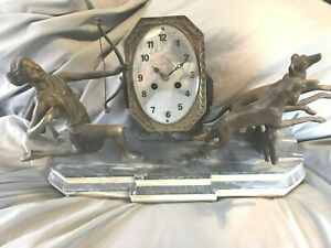 Rare Art Deco Diana And Hounds Clock Marble Onyx Spelter