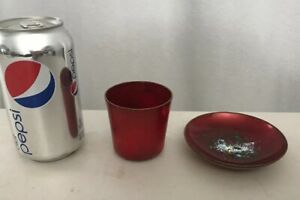 4 Dish 2 25 Cup Signed Statham Copper Enamel Mid Century Art Red
