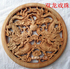 Chinese Hand Carved Statue Camphor Wood Round Plate Wall Sculpture