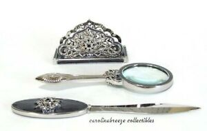 3 Pc Desk Set With Swarovski Crystals Card Holder Letter Opener And Magnifier
