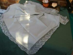 Antique White Textured Linen Tablecloth Runner Hand Crochet Lace 44in X 16 5in
