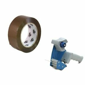 6 Rolls 3 inch X 110 Yards Tan Packing Tape 2 Mil With Free 3 inch Tape Gun