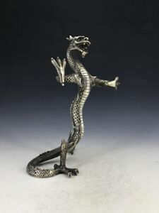 Chinese Antique Tibetan Silver Pure Hand Carved Dragon Statue B209