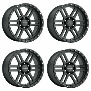 Set 4 18 Vision Off Road 354 Manx 2 Black Wheels 18x9 5x5 5 12mm Truck Rims