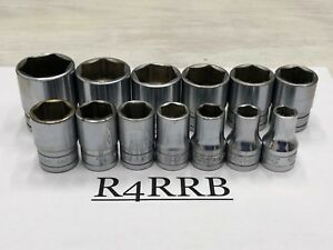 Used 13pc Snap on Tools Usa 1 2 Drive Sae Chrome 6pt Shallow Socket Set 313twya