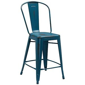 Tolix Style Distressed Kelly Blue Industrial Restaurant 24 Counter Stool