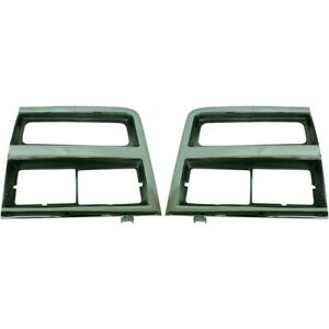 Headlight Trim Bezels Argent Gray Chrome Left Right Pair Set For Chevy Truck