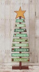 Primitive Country Folk Art Wooden Slat Christmas Tree With Holiday Sentiments